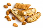 cantuccini cookies and almonds on white background