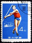 Postage Stamp North Korea 1965 Javelin, Olympic Sports