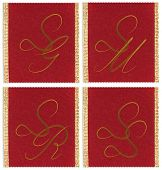 stock photo of sm  - Collection of textile monograms design on a ribbon - JPG