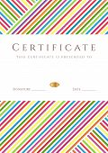 Certificate, diploma (template award) with colorful (bright, rainbow) colorful lines pattern