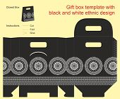 Gift Box Template With Black And White Ethnic Design