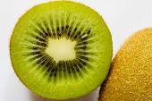 Ripe Kiwi Fruit Cut Half