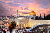 stock photo of holy  - Skyline of the Old City at he Western Wall and Temple Mount in Jerusalem - JPG