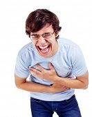 Young latin man in glasses doubling up with laughter. Isolated on white background, mask included