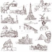 stock photo of moulin rouge  - An hand drawn collection in one big set  - JPG