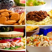 picture of noodles  - Food collage depicting chicken nuggets spaghetti turkey sandwich and chicken noodle soup - JPG