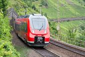 picture of moselle  - Train driving along vineyards near the river Moselle in Germany - JPG