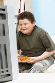 picture of obesity children  - Smiling overweight boy eating carrot sticks in front of television - JPG