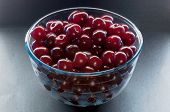 Glass bown with cherry berries