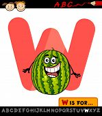 Letter W With Watermelon Cartoon Illustration