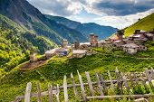 View of the village Adishi. Upper Svaneti, Georgia, Europe. Caucasus mountains. Beauty world.