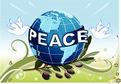 foto of olive branch  - Peace to the Earth with white doves and a branch of olives tree - JPG