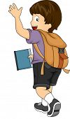 Side View Illustration of a Kid Boy with Backpack Waving his hands