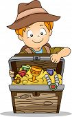 Illustration of a Kid Boy holding a Treasure Box Full of Treasures