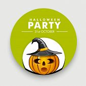 Sticker, label or tag for Halloween Party with scary pumpkin and witch hat.
