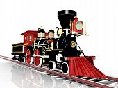 foto of locomotive  - Computer generated 3D illustration with an old American Steam Locomotive - JPG