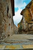 stock photo of ares  - Streets of the small old town Ares in Spain - JPG