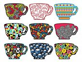 Set of tea cups with cool patterns.