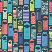 Seamless pattern with colorful ghosts.