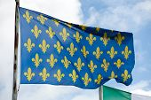 The flag of medieval France on the wind