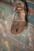 Close up of old rusty big padlock