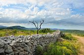 picture of ares  - Rural landscape with mountain view near town Ares in Spain. Old ruined wall in the field.