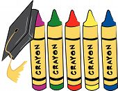 Crayons With Graduation Cap.