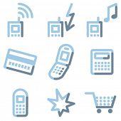Ícones do telefone móvel, luz de contorno azul