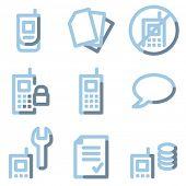 Conjunto de ícones de telefone móvel 2, contorno azul luz