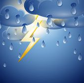 Sky with storm clouds and lightning. Vector illustration of bad weather with thunderstorms and lightning