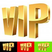 Golden VIP abbreviation isolated on white with color background samples.