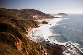 picture of pch  - A view out to sea along Big Sur coastline in California USA - JPG