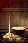 stock photo of soapy  - Cleaning mop and bucket with wet soapy floor - JPG