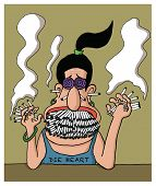 picture of smoker  - A heavy smoker woman has full of cigarettes in her mouth - JPG