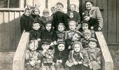 LODZ, POLAND, CIRCA FIFTIES - vintage photo of group of pupils in kindergarten , Lodz, Poland, circa