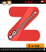 Letter Z With Zipper Cartoon Illustration