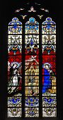image of crucifiction  - Stained glass window in church of Luxembourg - JPG