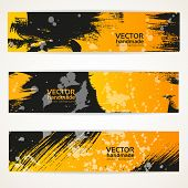 Abstract black and yellow vector handdraw banner set
