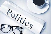 Politics word on newspaper
