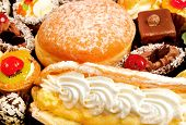 Many cakes,eclair and donat