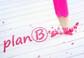 Plan B word and pink pencil
