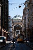 Side view of Galleria Vittorio Emanuele in Milan