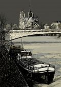 Vector illustration of Paris- Seine River with barges - Ile de la Cite and Notre-Dame - stormy weather (hand drawing)