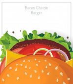 A delicious Bacon Cheese Burger on white. Vector illustration