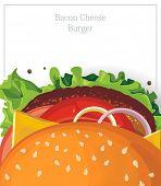 Постер, плакат: Вкусный гамбургер сыр бекон на белом Векторные иллюстрации
