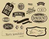 Vintage sale graphic elements set