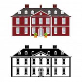 Mansion in 18th century Queen Anne style, color and black monochrome version on different layers