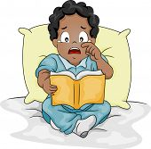 Illustration of an African-American Boy Shedding Tears While Reading a Storybook