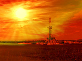 picture of shale  - Shale gas drilling with sunrise in the province of Lublin Poland - JPG