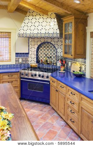 Spanish style kitchen home christmas decoration for Spanish style floor tiles